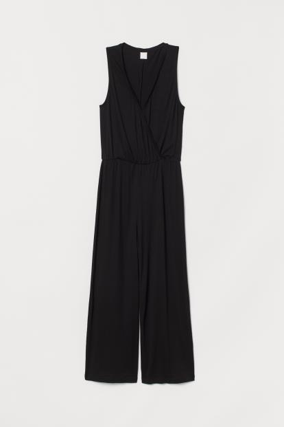 Black Asos Jersey Blouson Playsuit With Deep Plunge