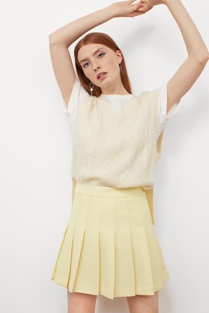 Yellow asos.com Jumper In Rib With Ruffle Neck