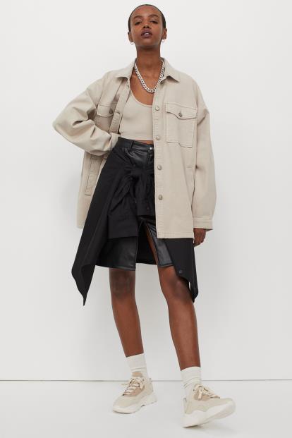 Blue Asos Pull&Bear Denim Midi Skirt With High Split Front