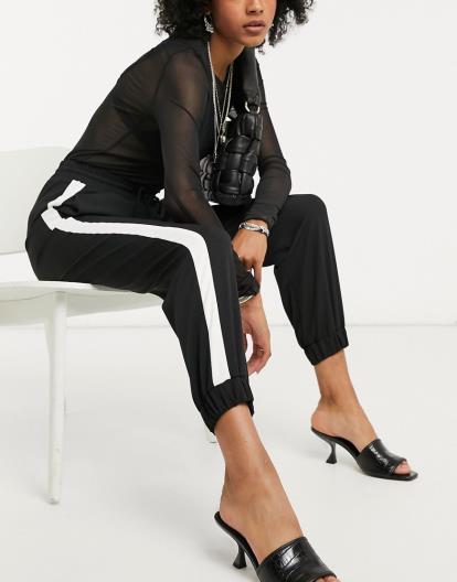 Black Asos Wide Leg Chiffon Jumpsuit