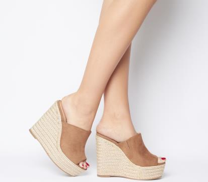 Blue topshop.com Ruler Flared Heel Peep-Toe Mules